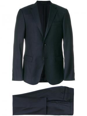 Приталенный деловой костюм Z Zegna. Цвет: синий