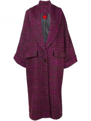 Пальто в клетку Ultràchic. Цвет: розовый и фиолетовый