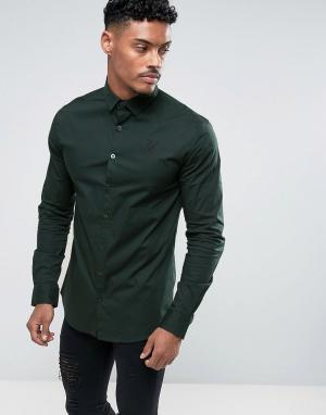 SikSilk Темно-зеленая обтягивающая рубашка. Цвет: зеленый