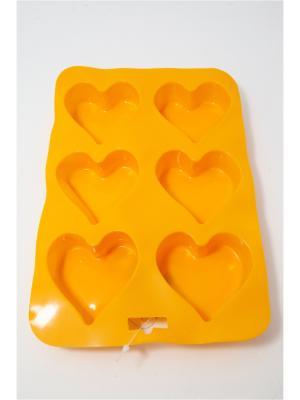 Форма силиконовая 6 ячеек, 16.5х24.5см, Сердечки. Vetta. Цвет: желтый