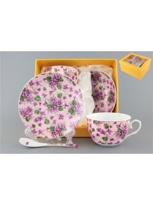 Чайная пара Анютины глазки на розовом  с ложками Elan Gallery. Цвет: белый, сиреневый