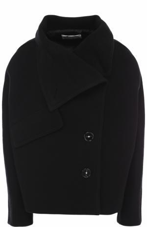Однобортное укороченное пальто из шерсти Acne Studios. Цвет: черный