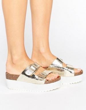 Raid Золотистые сандалии-слайдеры на плоской подошве Kooper. Цвет: золотой