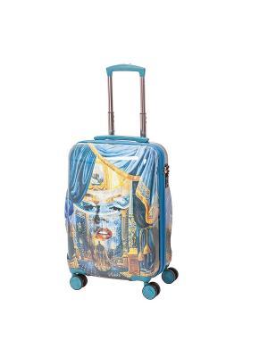 Чемодан на 4х колесах, серия Nikas Monro, 42 л, с телескопической ручкой Sun Voyage. Цвет: голубой, персиковый, светло-желтый