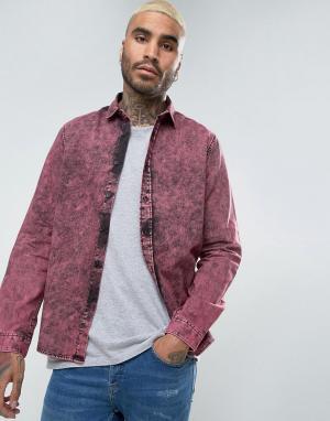 ASOS Джинсовая рубашка классического кроя с эффектом кислотной стирки. Цвет: фиолетовый