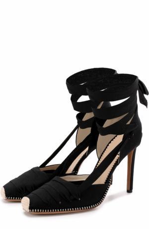 Текстильные туфли с лентами на шпильке Altuzarra. Цвет: черный