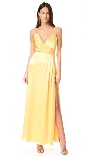 Атласное вечернее платье-комбинация Jill Stuart. Цвет: желтый