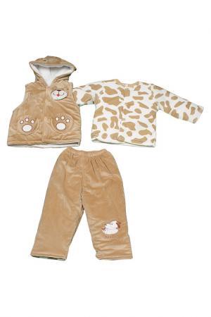 Комплект: жилет, куртка, брюки Patano. Цвет: светло-коричневый