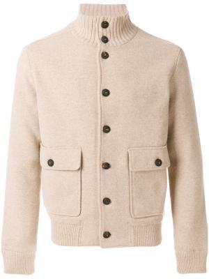 Трикотажная куртка-бомбер Lardini. Цвет: коричневый