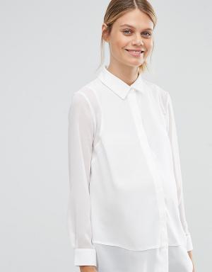 ASOS Maternity Блузка для беременных с прозрачными вставками. Цвет: белый