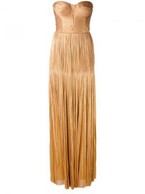 Длинное платье без бретелей Maria Lucia Hohan. Цвет: телесный