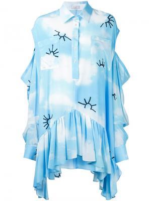 Платье кафтан с принтом облаков Natasha Zinko. Цвет: синий