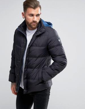 Puffa Пуховая куртка с капюшоном. Цвет: черный