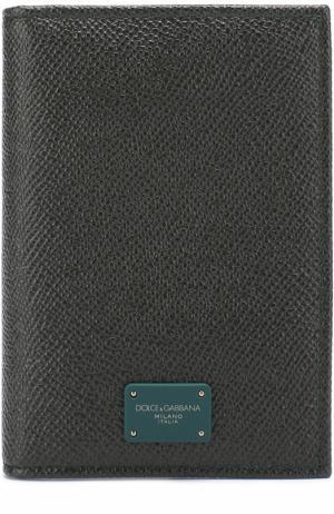 Кожаный футляр для документов Dolce & Gabbana. Цвет: темно-зеленый