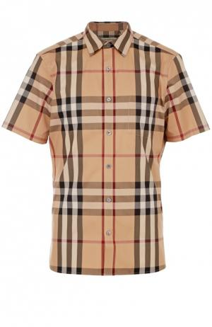 Рубашка из эластичного хлопка с короткими рукавами Burberry. Цвет: бежевый