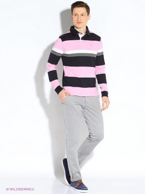 Лонгслив-поло Eden Park. Цвет: темно-синий, серый, розовый, белый