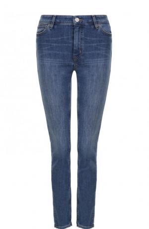 Укороченные джинсы с потертостями MiH Jeans. Цвет: синий