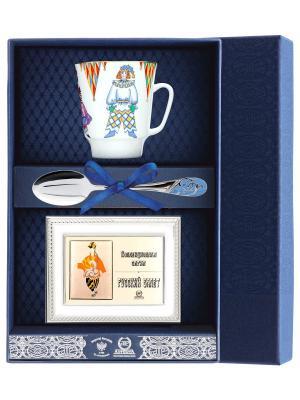 Набор чайный Майская - Балет Петрушка с рамкой д/фото 3 пр.+футляр АргентА. Цвет: серебристый