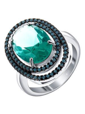 Кольцо Teosa. Цвет: серебристый, зеленый, бирюзовый