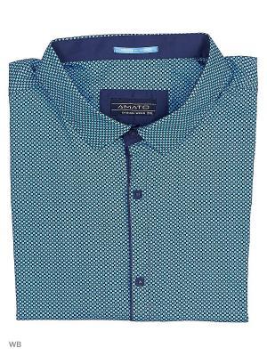 Рубашка AMATO. Цвет: темно-синий, голубой