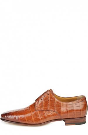 Дерби из кожи каймана A. Testoni. Цвет: коричневый