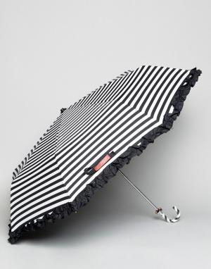 Bombay Duck Черно-белый зонт в полоску. Цвет: черный