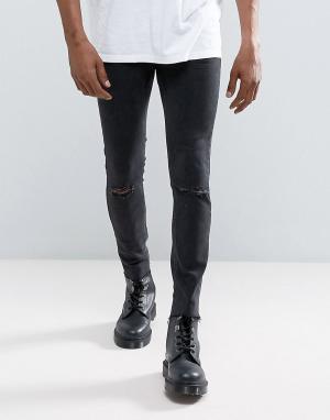 Mennace Черные обтягивающие джинсы с необработанным краем. Цвет: черный