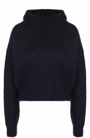 Укороченные вязаный свитер с высоким воротником Carven. Цвет: темно-синий