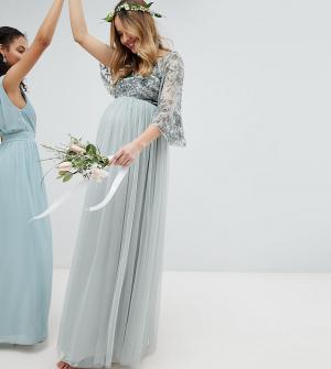 Maya Maternity Платье макси с пайетками на топе, кейпом и юбкой из тюля Maternit. Цвет: зеленый