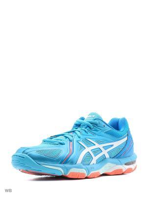 Спортивная обувь GEL-VOLLEY ELITE 3 ASICS. Цвет: голубой, белый, коралловый