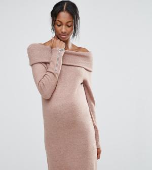 ASOS Maternity Платье-джемпер для беременных с открытыми плечами. Цвет: коричневый