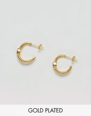 Ottoman Hands Серьги-кольца с черными камнями. Цвет: золотой