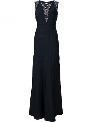 Вечернее платье с открытой спиной Hervé Léger. Цвет: чёрный