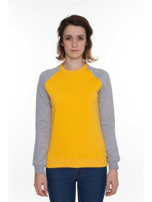 Свитшот SKILLS Show Your женская. Цвет: серый меланж, светло-оранжевый, желтый