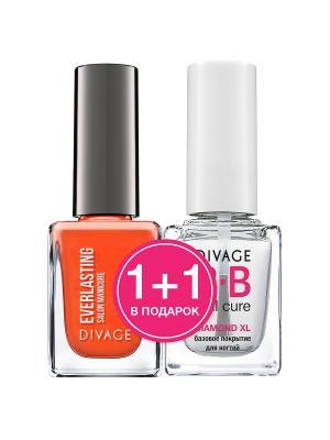 Лак для ногтей EVERLASTING № 11 + Базовое покрытие DIAMOND XL BB nail cure DIVAGE. Цвет: оранжевый