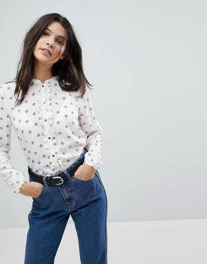 Esprit Рубашка с принтом Conversational. Цвет: белый