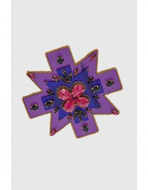 Брошь с кристаллами Erickson Beamon. Цвет: фиолетовый