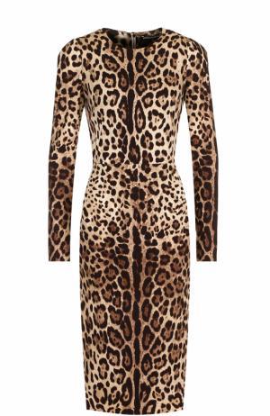 Шелковое платье-миди с принтом Dolce & Gabbana. Цвет: леопардовый