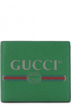 Кожаное портмоне с отделениями для кредитных карт Gucci. Цвет: зеленый