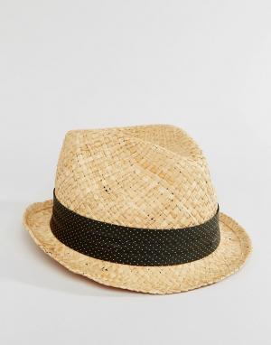 Catarzi Соломенная шляпа с лентой в серый горошек. Цвет: бежевый