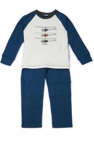 Хлопковая пижама с принтом Grigioperla. Цвет: синий