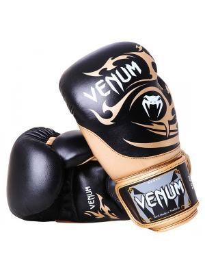 Перчатки боксерские Venum Tribal Boxing Gloves - Black/Gold Nappa leather. Цвет: золотистый, черный