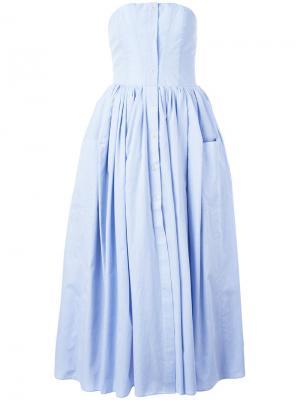 Платье с юбкой в складку Natasha Zinko. Цвет: синий