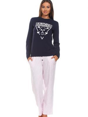 Пижама Sevim Linse. Цвет: антрацитовый, бледно-розовый