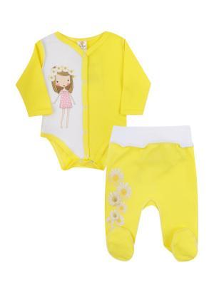Набор одежды: боди, ползунки Коллекция Ромашки КОТМАРКОТ. Цвет: желтый