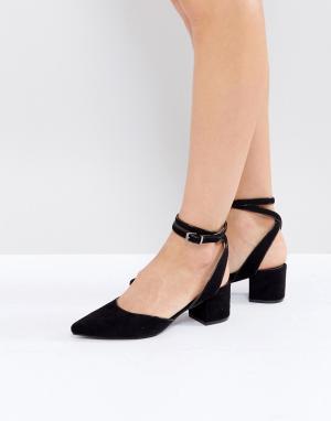 Raid Черные туфли на каблуке с ремешком вокруг щиколотки Ransom. Цвет: черный