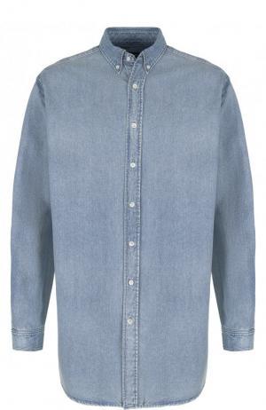 Джинсовая рубашка с логотипом бренда Balenciaga. Цвет: голубой
