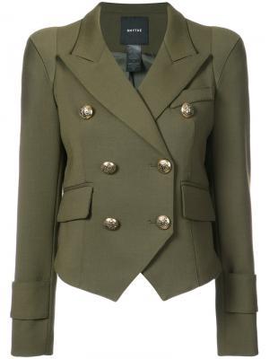 Двубортный пиджак Pagoda Smythe. Цвет: зелёный