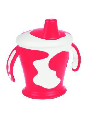 Чашка-непроливайка с ручками, 250 мл. Little cow 9м+ Canpol babies. Цвет: красный, белый