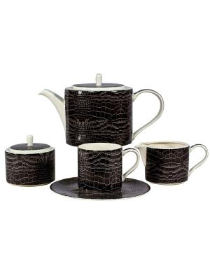 Сервиз чайный 17пр. на 6 персон Саби черный Royal Porcelain. Цвет: молочный
